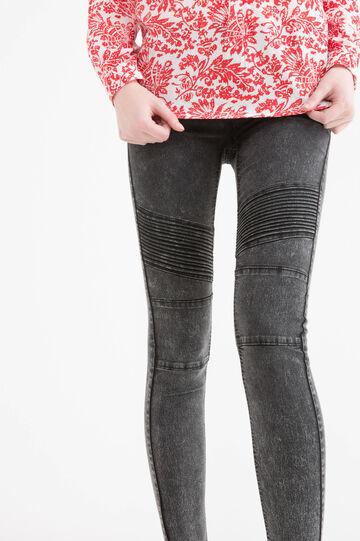 Jeans biker skinny fit stretch, Nero, hi-res