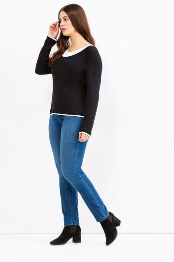 Curvy faux layered cotton T-shirt, Black, hi-res
