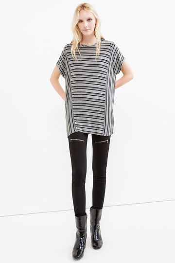 Long T-shirt in striped stretch viscose, Black/Grey, hi-res