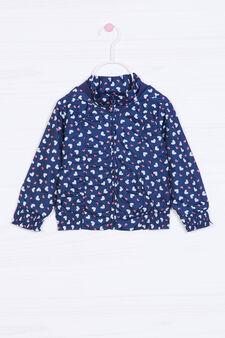 Giacca stampata con cappuccio, Blu navy, hi-res