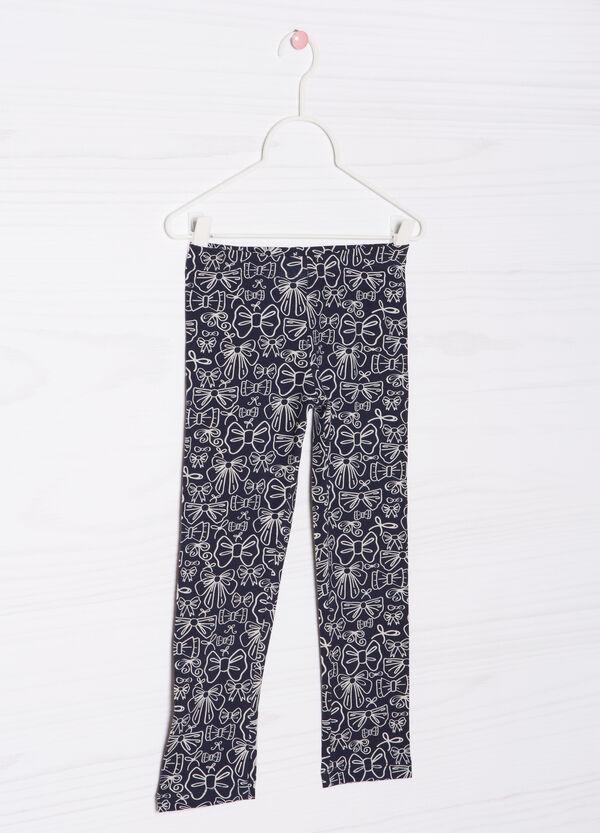 Printed stretch cotton leggings | OVS