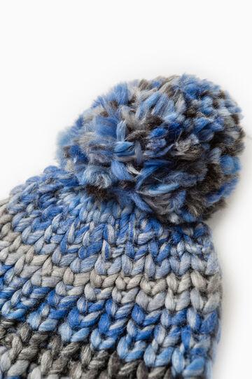 Striped beanie cap with pompom, Denim Blue, hi-res