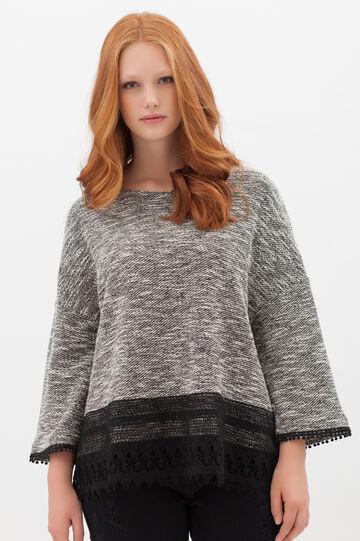 Curvyglam pullover with lace, Grey Marl, hi-res