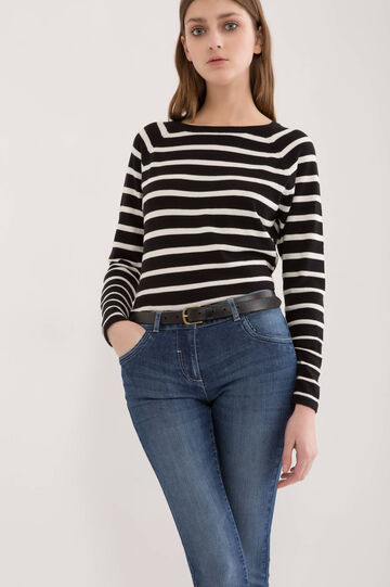 Jeans stretch effetto used, Blu denim, hi-res