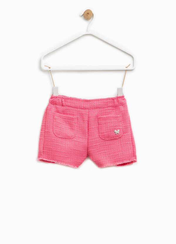 Solid colour knitted cotton blend shorts | OVS