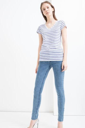 T-shirt cotone scollo a V righe, Bianco/Blu, hi-res