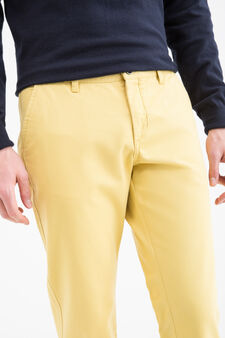 Regular-fit chino trousers in cotton twill, Yellow, hi-res