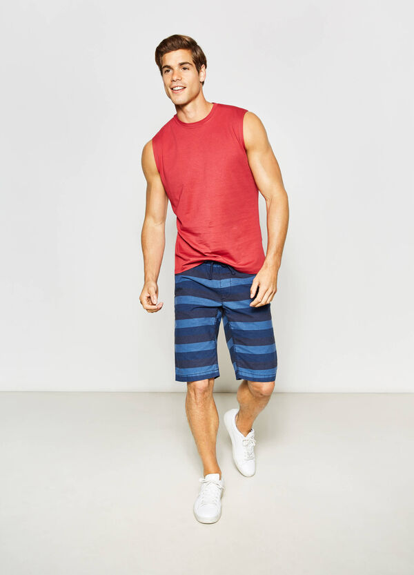 Regular-fit Bermuda shorts in striped cotton | OVS
