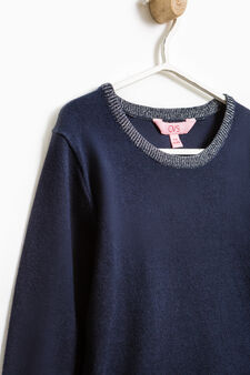 Cotton blend pullover with tulle flounces, Blue, hi-res