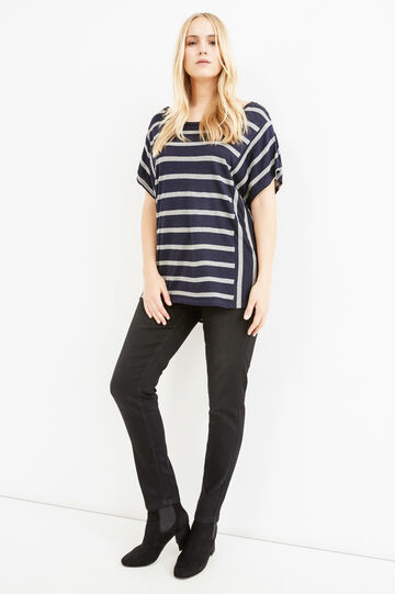 Curvy striped T-shirt in 100% viscose, Blue/Grey, hi-res