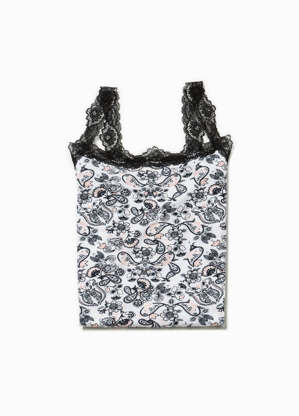 Underwear top with lace and all-over print | OVS