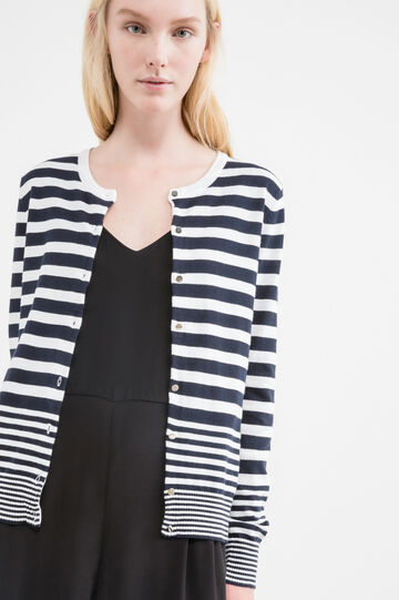 Cotton blend striped cardigan, Navy Blue, hi-res