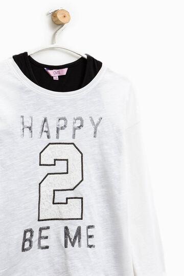 Camiseta con encaje y efecto falso doble, Blanco/Negro, hi-res