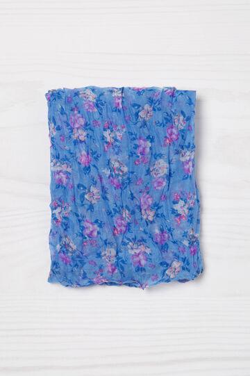 Floral print creased scarf, Azure, hi-res