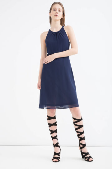 Solid colour sleeveless dress, Navy Blue, hi-res