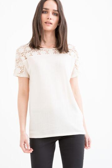 Viscose blend openwork T-shirt, Cream, hi-res