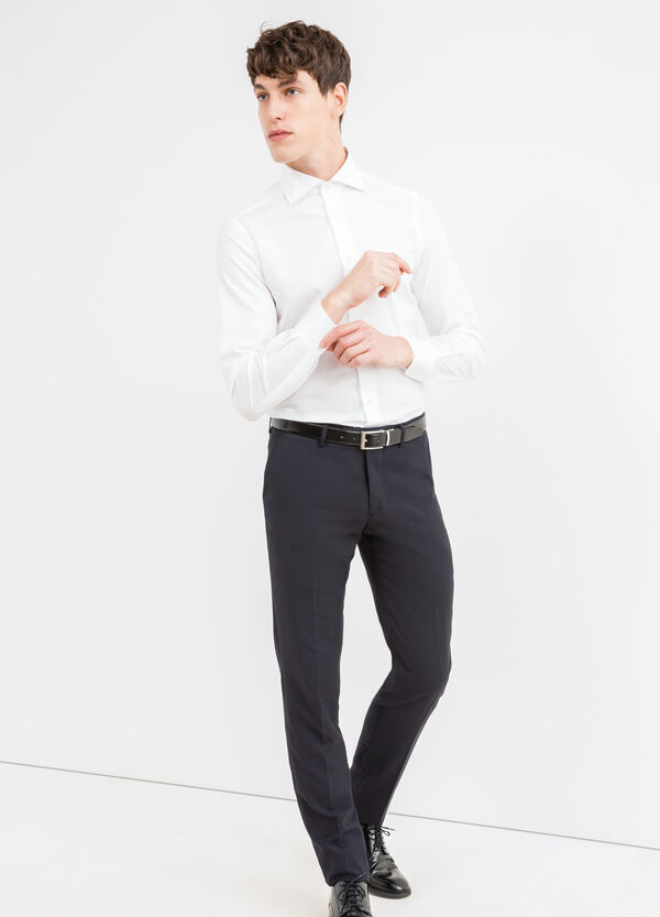 Solid colour, slim-fit, cotton formal shirt | OVS