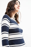 Ribbed pullover with raglan sleeves, White/Blue, hi-res