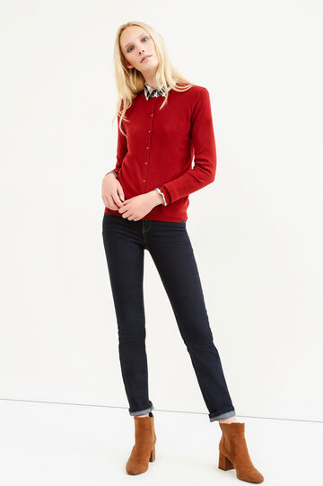 Solid colour wool blend cardigan, Dark Red, hi-res