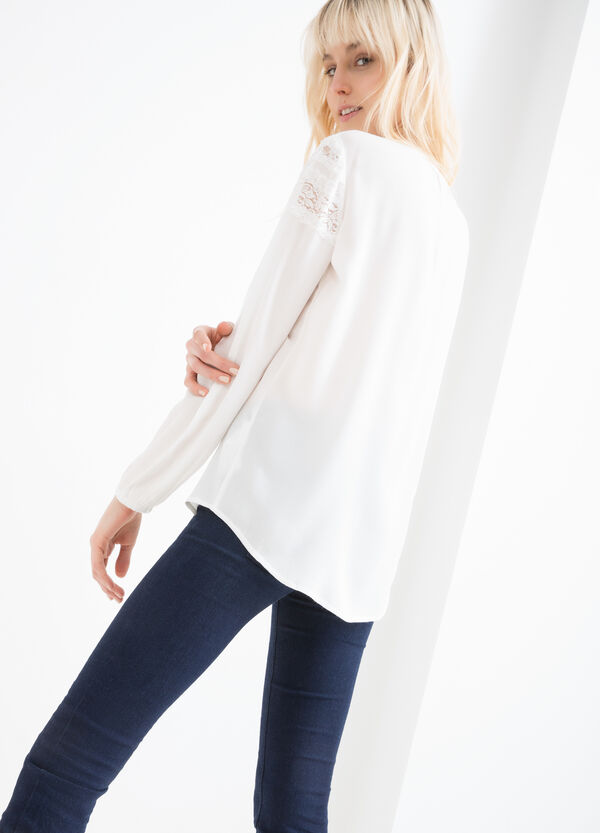 100% viscose blouse with lace | OVS
