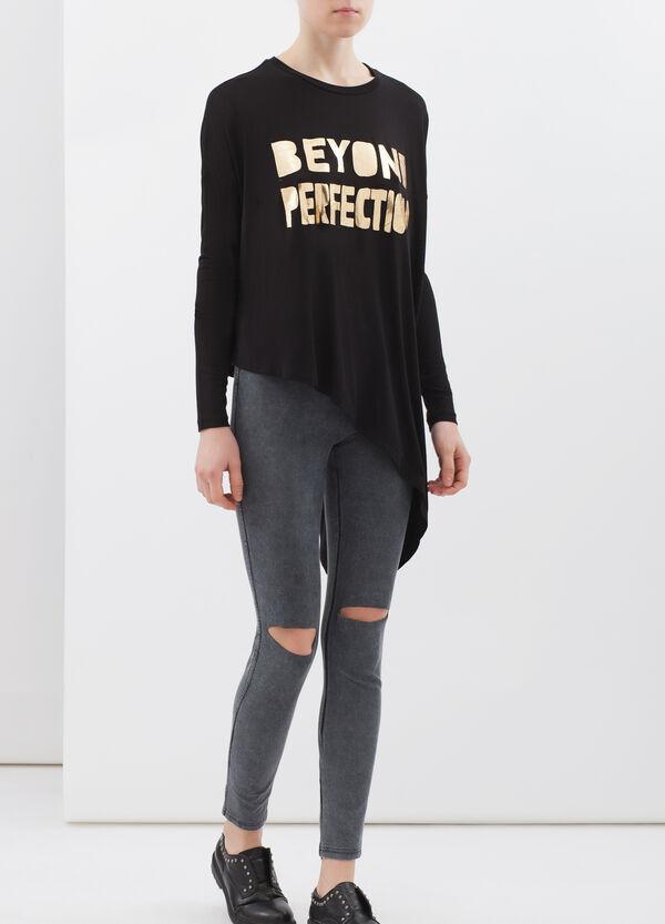 Long-sleeved viscose T-shirt | OVS