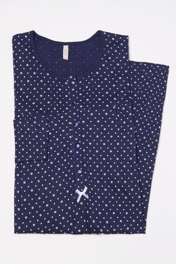 Camicia da notte puro cotone a pois, Blu navy, hi-res