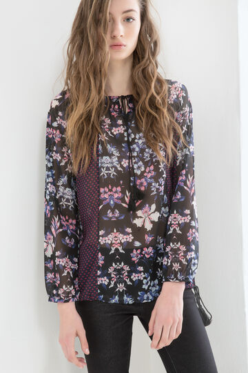 Floral patterned blouse, Black, hi-res