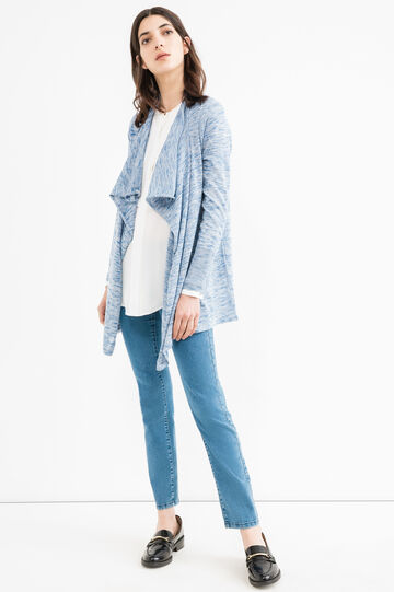 Shawl-neck viscose blend cardigan, Denim, hi-res