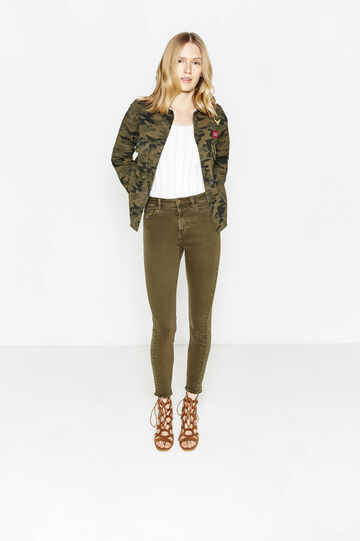 Stretch cotton trousers with fringed hem, Olive Green, hi-res