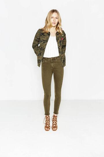 Pantalón en algodón elástico con bajo deshilachado, Verde oliva, hi-res