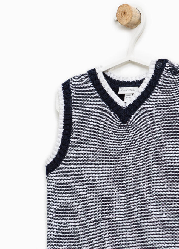 Chaleco jaspeado en punto tricot de algodón 100% | OVS