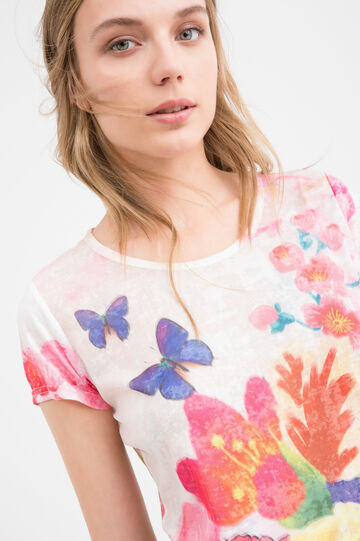 Patterned T-shirt in stretch cotton, Pink, hi-res