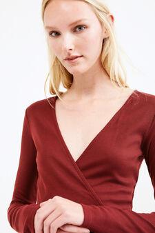 Ribbed V-neck dress, Red, hi-res
