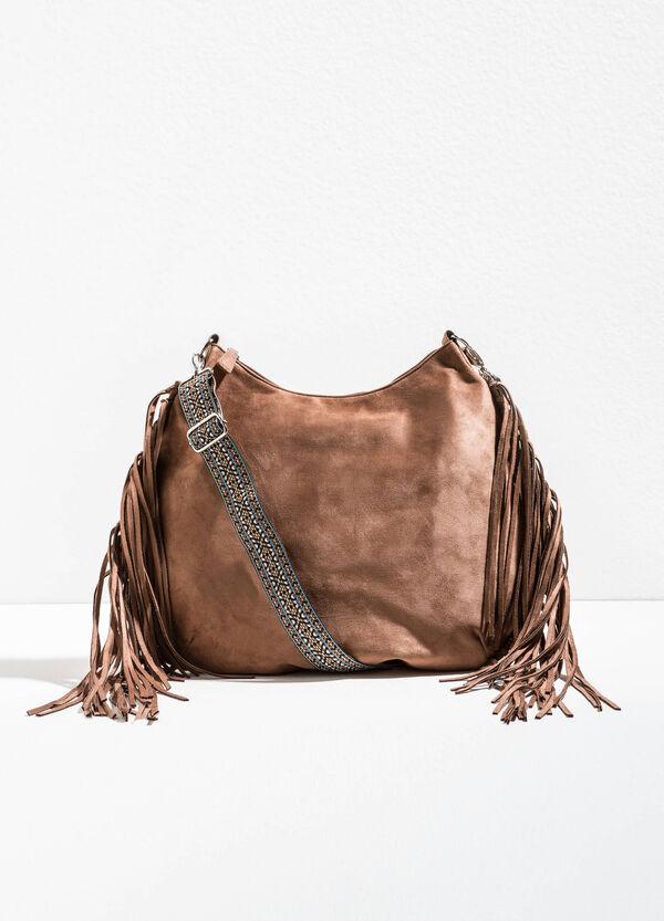 Suede shoulder bag with fringing | OVS