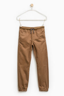 Pantaloni cotone con coulisse, Giallo senape, hi-res