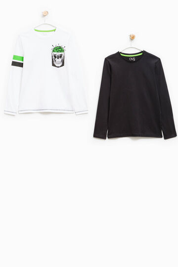 Two-pack, long-sleeved T-shirts, White/Black, hi-res