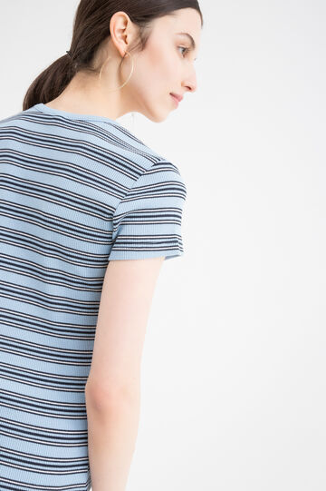 Striped T-shirt in blended cotton, Sky Blue, hi-res