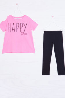 Printed outfit in 100% cotton, Black/Pink, hi-res