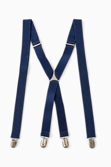 Bretelle tinta unita con clip, Blu navy, hi-res