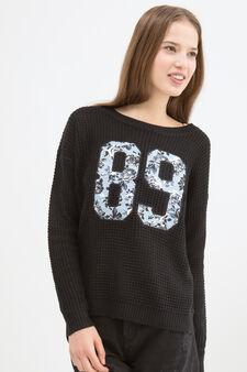 Pullover tricot con stampa, Nero, hi-res