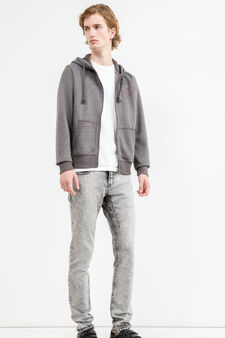 G&H solid colour cotton blend sweatshirt, Grey Marl, hi-res