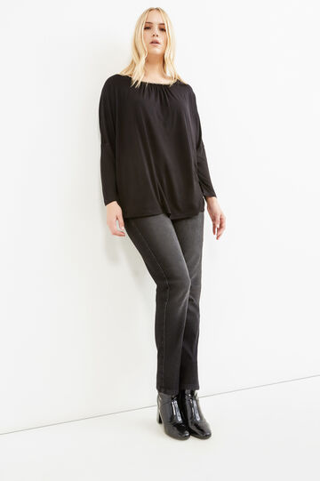 Curvy T-shirt in 100% viscose with chain, Black, hi-res