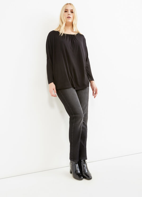 Curvy T-shirt in 100% viscose with chain | OVS