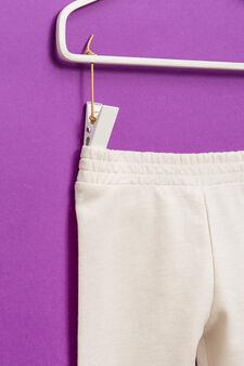 Solid colour cotton blend joggers, Beige, hi-res