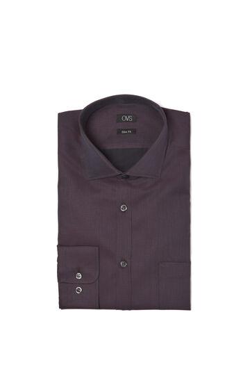 Camicia fantasia slim fit, Marrone, hi-res