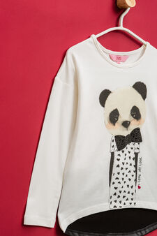 Stretch cotton T-shirt with print and small studs, Milky White, hi-res