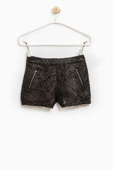 Cotton openwork shorts, Black, hi-res