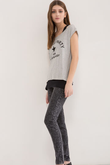 T-shirt in 100% cotton with top, Light Grey, hi-res
