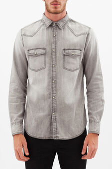 Denim shirt with pockets, Grey, hi-res