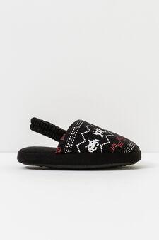 Pantofole con stampa, Nero, hi-res